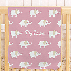 Personalized Baby Girl Elephant Blanket U960151