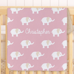 Personalized Baby Girl Elephant Blanket | Personalized Baby Blankets