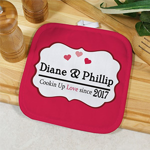 Personalized Cooking Up Love Pot Holder | Personalized Couple Gifts