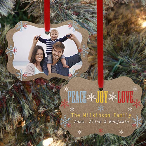 Peace Joy Love Photo Ornament