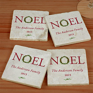 Personalized Noel Marble Coasters