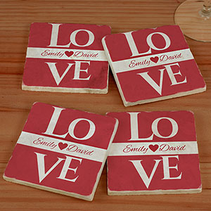 Love Personalized Marble Coasters