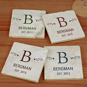 Personalized Family Monogram Marble Coasters