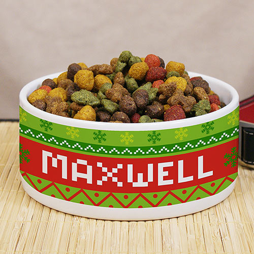 Personalized Dog Christmas Pet Food Bowl