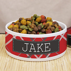 Personalized Plaid Pet Food Bowl U990914