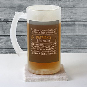 Personalized My Brewery Frosted Glass Stein U9923106