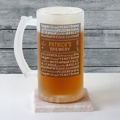 Personalized My Brewery Frosted Glass Stein | Personalized Gifts for Him