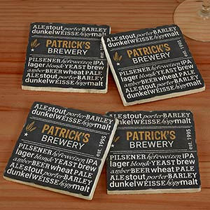 Personalized My Brewery Marble Coasters U992386