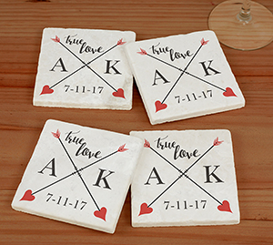 Personalized True Love Marble Coaster Set U993986