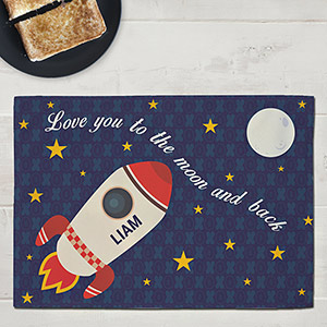 Personalized Love You To the Moon and Back Kids Placemat  | Valentine Gifts For Children