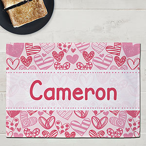 Personalized Pink Hearts Kids Placemat | Valentines Day Gifts For Kids
