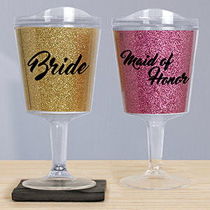 Bridal Party Glitter Tumblers | Bridesmaid Cups