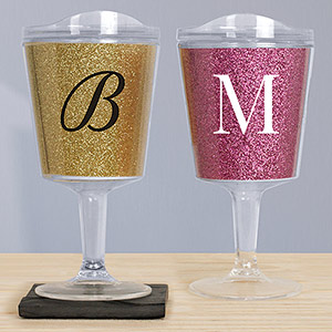 Single Initial Glitter Tumblers | Personalized  Bridesmaid Glasses
