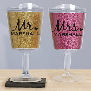 Personalized Mr. and Mrs. Glitter Tumblers