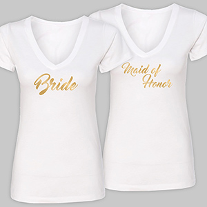 Personalized Bridal Party White V-Neck T-Shirt