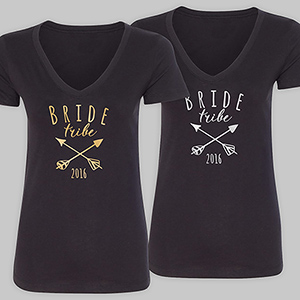 Personalized Bride Tribe Black V-Neck T-Shirt