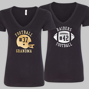 Personalized Team Spirit Black V-Neck T-Shirt VN310318AX