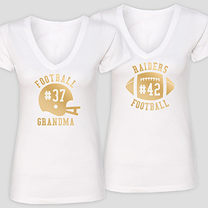 Personalized Team Spirit White V-Neck T-Shirt