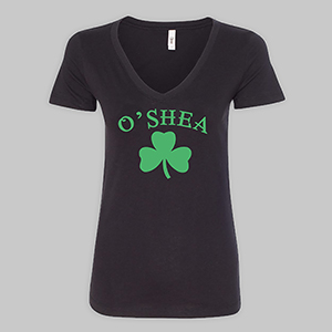 Personalized Irish Shamrock Black V-Neck T-Shirt | Personalized St Pats Day Shirt