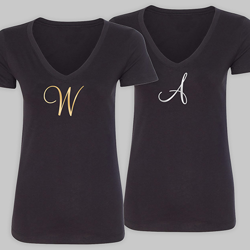 Personalized Initial Black V-Neck T-Shirt VN39906BKX