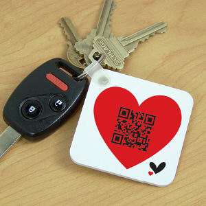 Personalized QR Code Heart Keychain