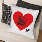 Personalized QR Code Heart Throw Pillow