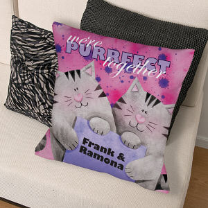 Personalized Purrfect Together Throw Pillow