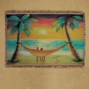 Personalized Beach Sunset Throw Blanket