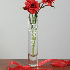 Engraved All You Need Is Love Bud Vase