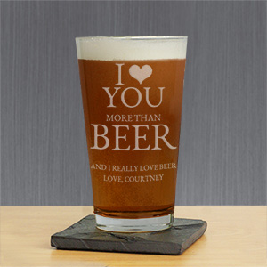 I Love You More Than.. Personalized Glass