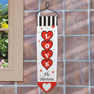 Personalized Hearts of Love Banner