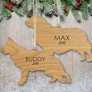 Engraved Dog Breeds Wood Cut Ornament W106540