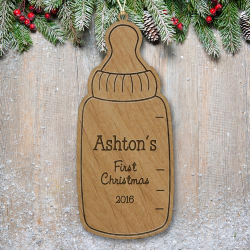 Engraved Baby Bottle Ornament | Baby's First Christmas Ornaments