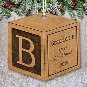 Engraved Wood Baby Block Ornament W106910