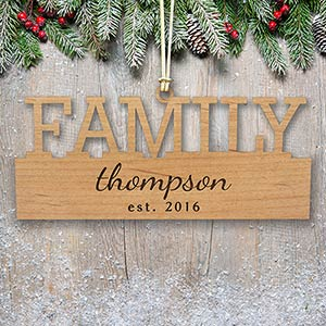 Engraved Family Wood Cut Ornament W106930