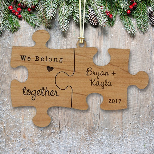 Engraved Couples Puzzle Wood Cut Ornament | Personalized Couples Ornament