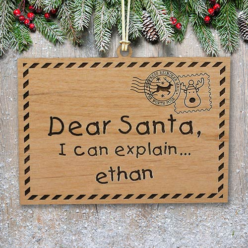 Engraved Dear Santa Wood Cut Ornament | Kids Christmas Ornaments