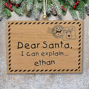 Engraved Dear Santa Wood Cut Ornament | Personalized Christmas Ornaments