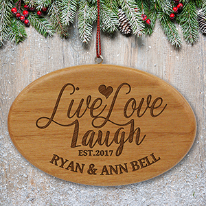 Engraved Live, Laugh, Love Wood Oval Ornament | Personalized Couples Ornament