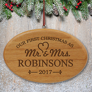 Engraved Our First Christmas Wood oval Ornament W109892