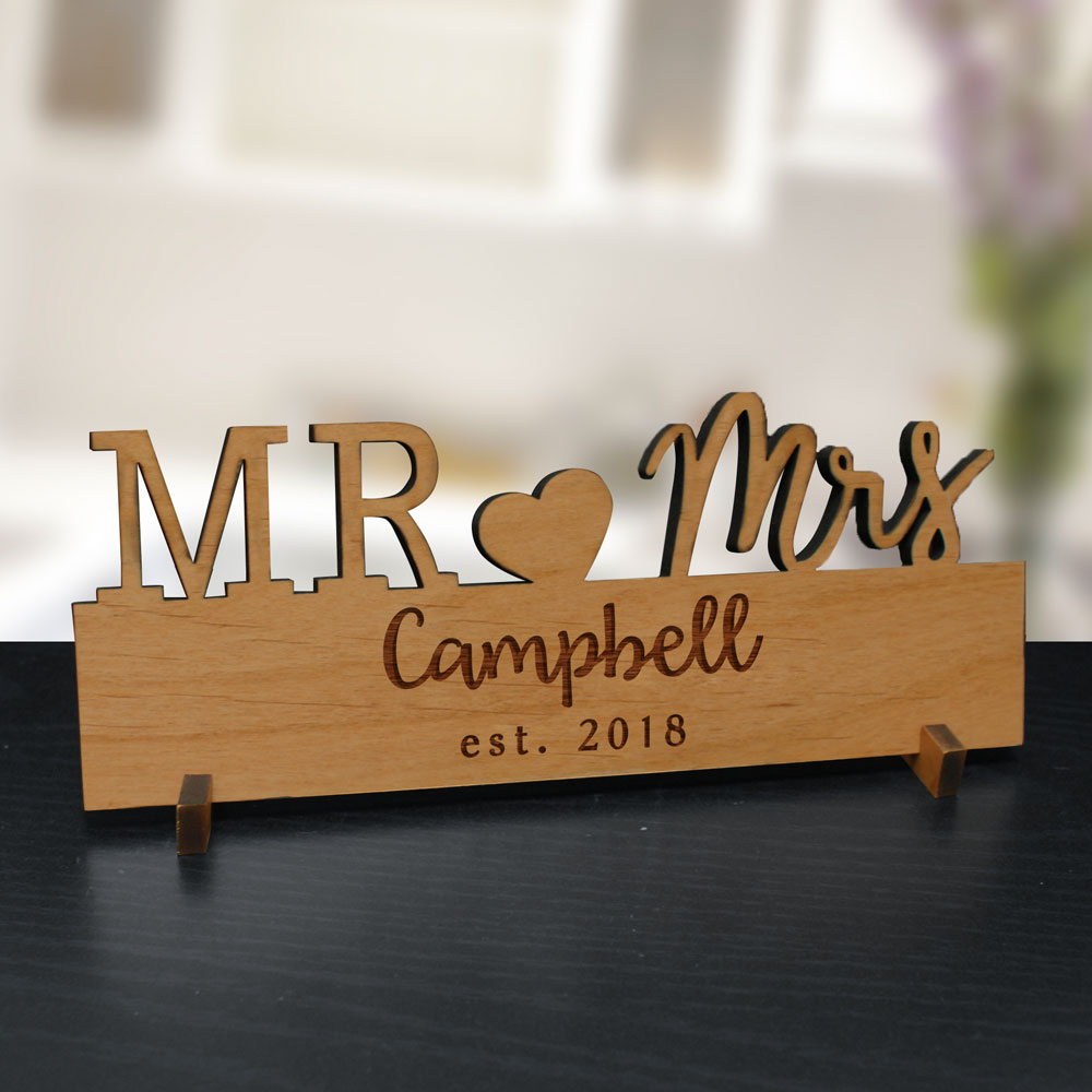 Engraved Couple's Wood Plaque | Personalized Wedding Gifts for Couple