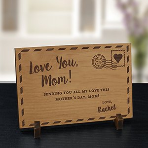 Engraved Love You Mom Wood Postcard | Personalized Gifts For Mom