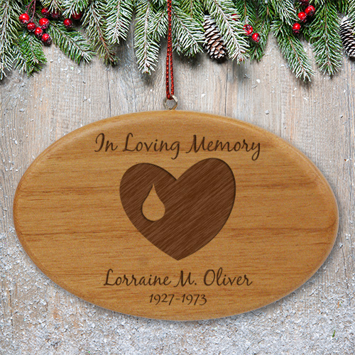 Engraved Forever In Our Hearts Memorial Wooden Oval Ornament | Personalized Memorial Ornaments