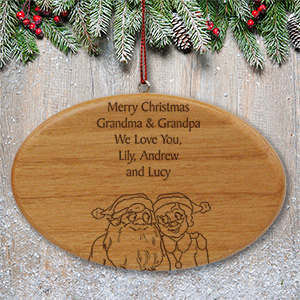 Engraved Santa and Mrs. Claus Wooden Oval Ornament W24772