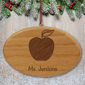 Engraved Teacher Wooden Oval Ornament | Personalized Teacher Ornaments