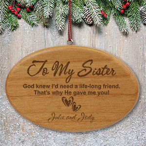 Engraved Sister Wooden Oval Ornament W44682
