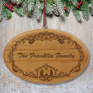 Engraved Family Nativity Christmas Wooden Oval Ornament | Personalized Christmas Ornaments
