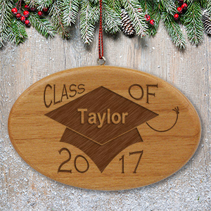 Engraved Class of Wooden Oval Ornament W66252