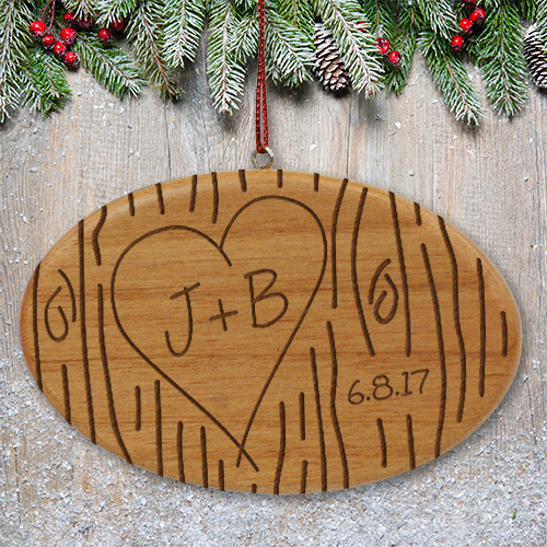 Couples Tree Carving Wooden Ornament W73012