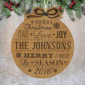 Engraved Merry Christmas Wood Ornament